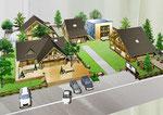 岡山県倉敷市の丸太小屋住宅展示場の手描きパース
