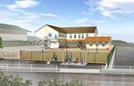 岡山に建設される保育園の外観パ-ス