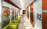岡山に建設の病院待合室の内観パース2