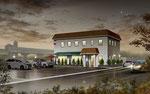倉敷市に建設のイタリアンレストランの夜景外観パ-ス