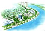 関東地方の河川に隣接の再開発の鳥瞰スケッチ