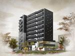 岡山の西川沿いに建設の黒い外壁タイルのマンション