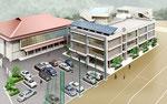 広島県に建設の中学校校舎の鳥瞰パース