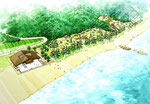 山陰に整備される海辺のキャンプ場の鳥瞰パ-ス