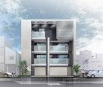 岡山に建設の外壁が金属パネルのオフィス兼住宅の外観パ-ス