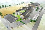 岡山県北に建設される和瓦屋根の中学校の鳥瞰パ-ス