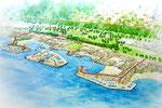 兵庫に建設の岩場の多い海浜公園の手描きパース