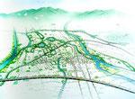 兵庫の道路と河川と線路を強調の鳥瞰手描きパース