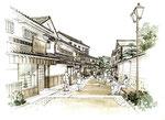 倉敷の町並みフリーハンドの手描きパース