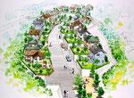 倉敷の住宅団地開発の鳥瞰手描きパース