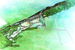 岡山県南の広域公園整備の鳥瞰手描きパース