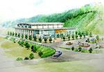 岡山に建設の公民館の鳥瞰手描きパース1