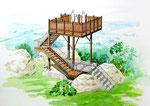 丘の上に計画の木製の展望台