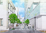 岡山に建設される劇場横の歩道整備の手描きパース