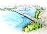 海辺の公園と対岸を結ぶ橋建設の鳥瞰パ-ス