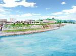 岡山市中心部に整備の遊歩道のパース1
