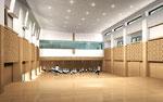 岡山に建設の幼稚園のホール内観パース