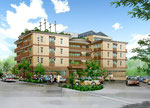 岡山に建設の高齢者施設の手描きパース