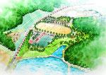 岡山の公園の鳥瞰パース1
