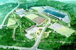 山梨県の山間部に建設される工場の鳥瞰パ-ス