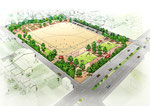 岡山に整備される野球場2面のグランドの鳥瞰パ-ス