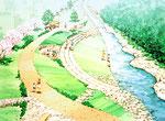 川辺に整備される遊歩道の部分鳥瞰スケッチ