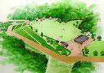 淡路島に建設の展望公園の1の土木景観パース