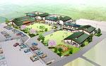岡山県北に建設の高齢者施設の鳥瞰パ-ス