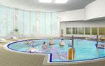 岡山に建設の健康センターのプール部内観パース