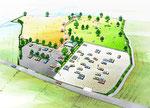 淡路島に建設の展望公園の2の土木景観パース