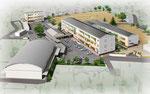 岡山に建設の小学校の北方向からの鳥瞰パース