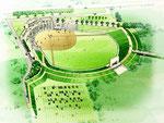 野球場建設の鳥瞰パース