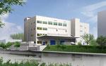 兵庫県に建設の倉庫兼事務所棟の外観パース