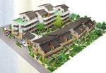 岡山に建設のタウンハウス鳥瞰図