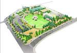 岡山の公園の鳥瞰パース2
