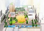 岡山の公園と高層住宅の開発の鳥瞰手描きパース