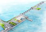 岡山市の1級河川河口に整備される防災センターの鳥瞰パ-ス