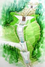 砂防ダム建設の鳥瞰手描きパース