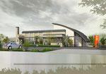 岡山に建設の医院の外観パース