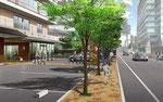 東京都に建設の高齢者施設のエントランス部分のパース