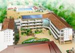 岡山県北に建設の中学校の鳥瞰図