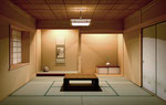 広島に建設の住宅の和室内観パース(夜)
