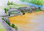 岡山県北に建設の中学校の鳥瞰手描きパース