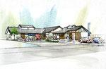 岡山県に建設の和風の飲食が出来る土産物店の外観スケッチパース