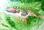 崖地に立つ住宅の法面整備の手描きパース