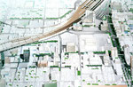 岡山に建設のマンション強調の町並み鳥瞰パース