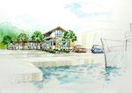 岡山の船の待合所の手描きパース
