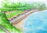 海辺の公園建設の鳥瞰手描きパース