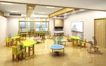 岡山に建設の子供園の教室の内観パース
