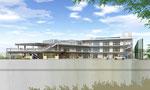 岡山に建設の総タイル貼り住宅の外観パース